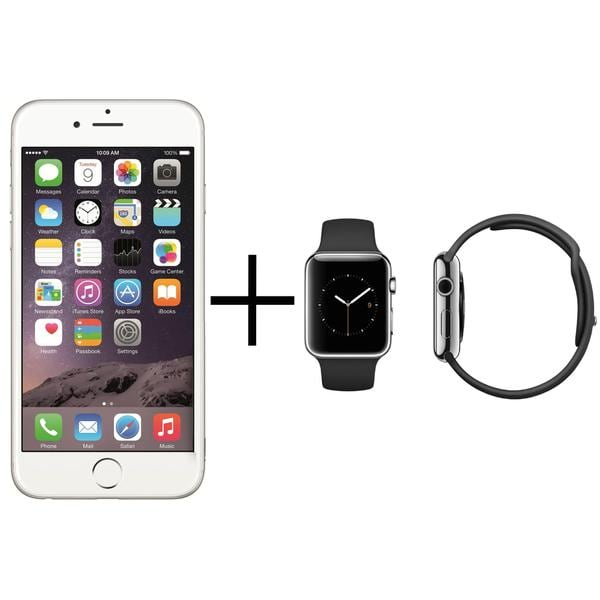 Apple iPhone 6 16GB Unlocked GSM 4G LTE Cell Phone Silver + Apple Watch 42mm Sport Edition Band