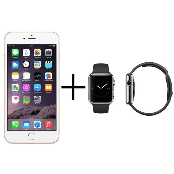 Apple iPhone 6 64GB Unlocked GSM 4G LTE Cell Phone Gold + Apple Watch 38mm Sport Edition Band