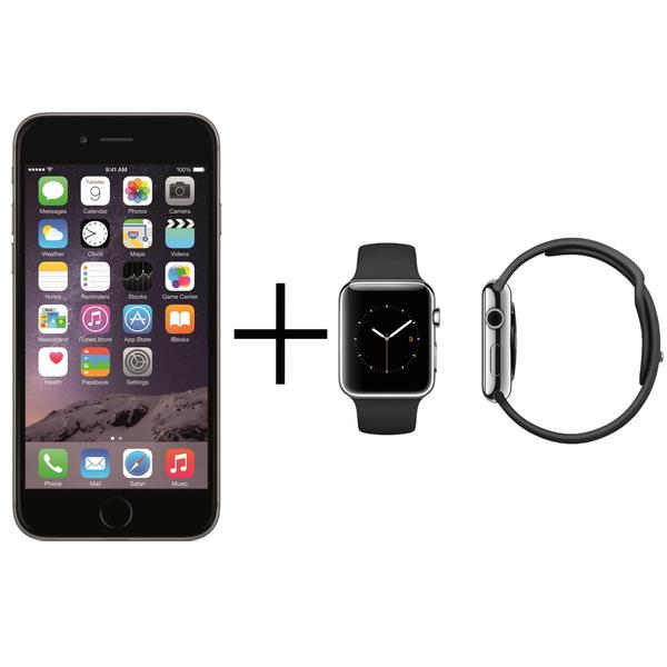 Apple iPhone 6 64GB Unlocked GSM 4G LTE Cell Phone Space Gray + Apple Watch 38mm Sport Edition Band