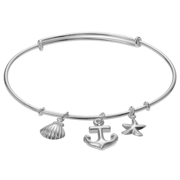 Journee Collection Sterling Silver Anchor Sea Shell Charm Bangle