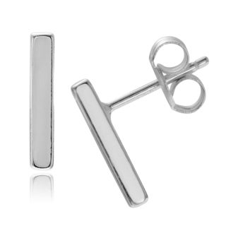 Journee Collection Sterling Silver Polished Bar Stud Earrings