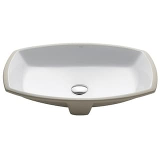 Kruas Elavo White Ceramic Flared Rectangular Undermount Bathroom Sink w/ Overflow