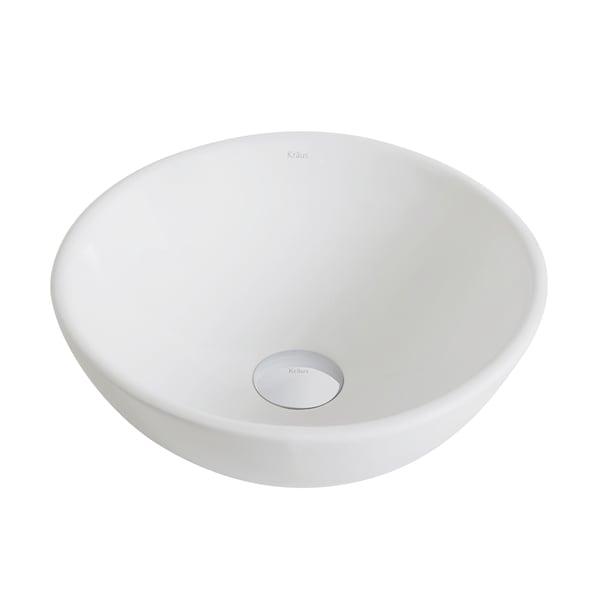 ElavoWhite Ceramic Small Round Vessel Bathroom Sink
