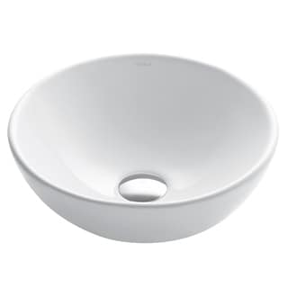 Kraus Elavo White Ceramic Small Round Vessel Bathroom Sink