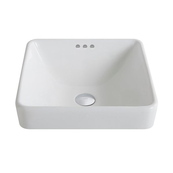 ElavoWhite Ceramic Square Semi-Recessed Bathroom Sink w/ Overflow