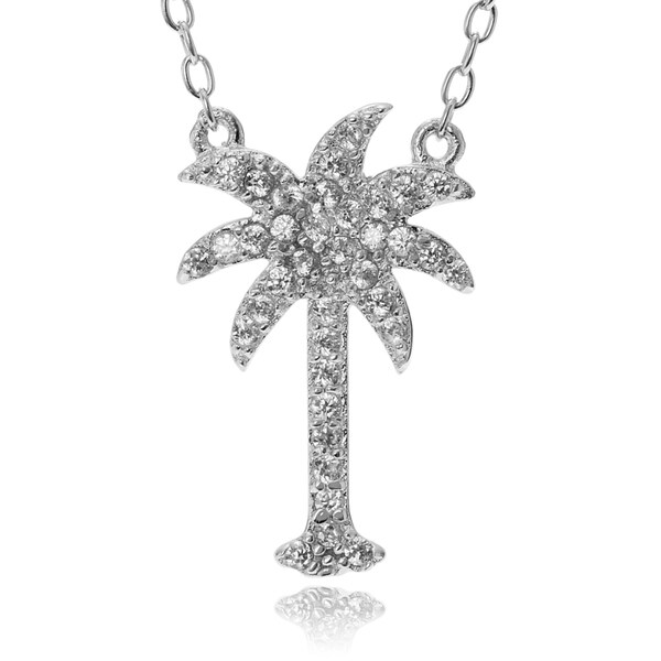 Journee Collection Sterling Silver Cubic Zirconia Palm Tree Pendant 16090307