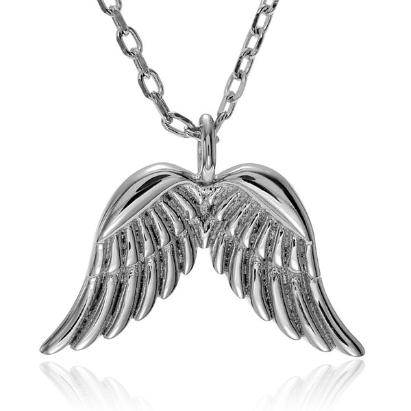 Journee Collection Sterling Silver Angel Wing Pendant