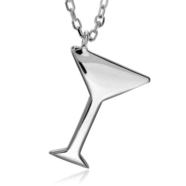 Journee Collection Sterling Silver Martini Glass Pendant 16090362