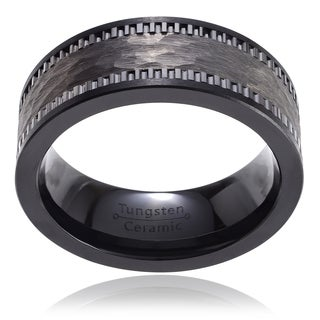 Territory Men's Ceramic Hammered Tungsten Band