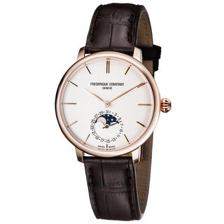 Frederique Constant Men's FC-703V3S4 'Slim Line' Silver Dial Brown Leather Strap Moon phase Swiss Automatic Watch