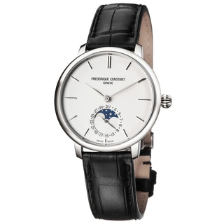 Frederique Constant Men's FC-703S3S6 'Slim Line' Silver Dial Black Leather Strap Moon phase Swiss Automatic Watch
