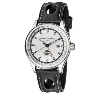 Frederique Constant Men's FC-350HS5B6 'Healey GMT' Silver Dial Black Leather Strap Swiss Automatic Watch