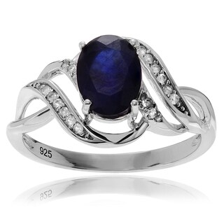 Journee Collection Rhodium-plated Sterling Silver Topaz Accent Sapphire Ring
