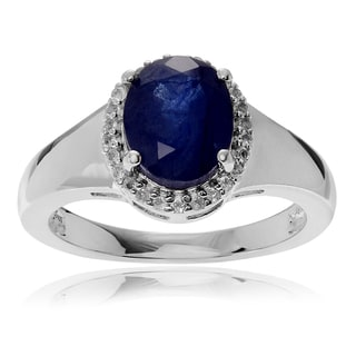 Journee Collection Rhodium-plated Sterling Silver Sapphire Topaz Accent Halo Ring