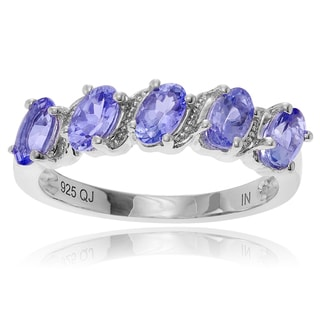 Journee Collection Rhodium-plated Sterling Silver Oval 1/2 Carat Tanzanite Ring Band