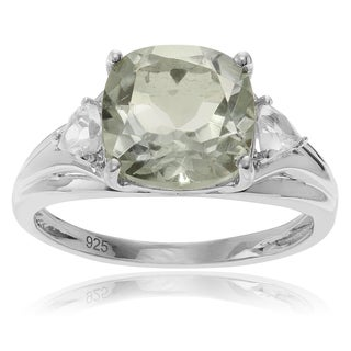 Journee Collection Sterling Silver Rhodium-plated Green Amethyst Topaz Accent 2 carats Ring