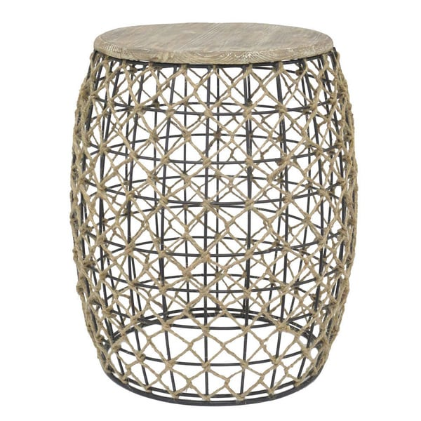 Tan Grass and Metal Stool
