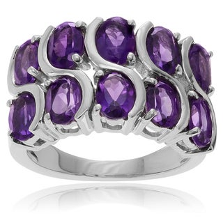 Journee Collection Rhodium-plated Sterling Silver Amethyst Ring