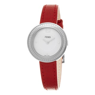 Fendi Women's F354024073 'My Way' White Dial Red Leather Strap Fur Adorned Small Swiss Quartz Watch