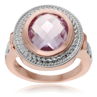 Journee Collection 14k Rose Goldplated Sterling Silver Pink Amethyst Ring