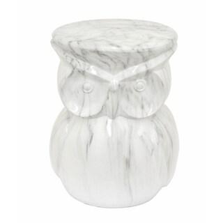 White Marble Owl Garden Stool