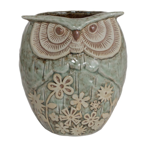 Grey Ceramic Owl Planter
