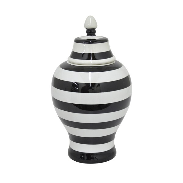 White, Black 20-inch Ceramic Urn