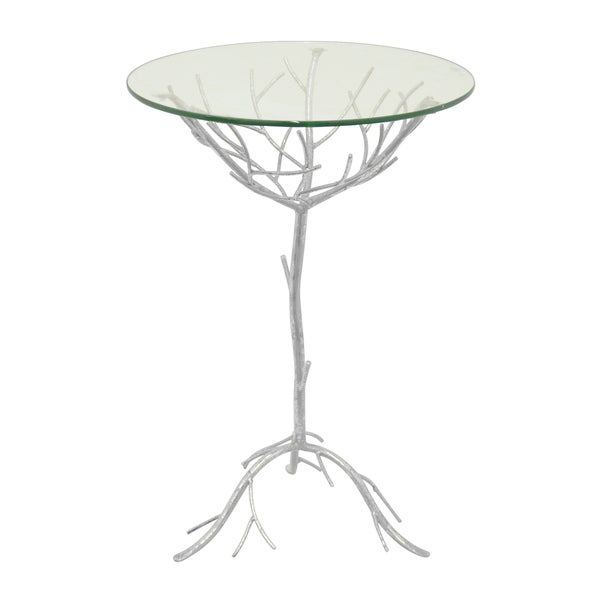 Silver Metal/ Glass Table