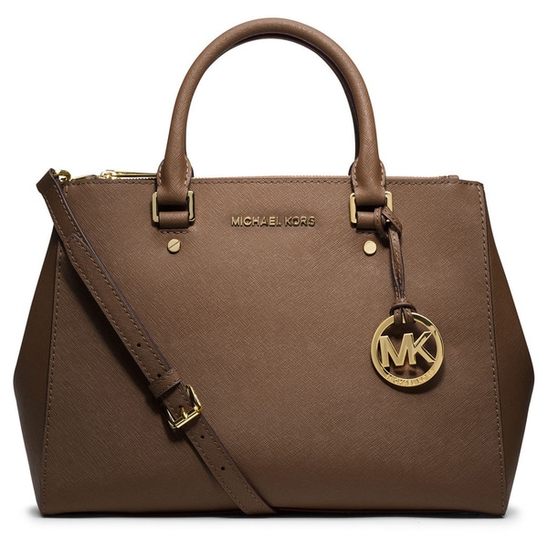 Michael Kors Leather Sutton Dark Dune Medium Satchel
