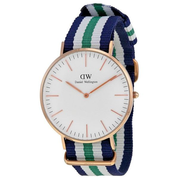 Daniel Wellington Men's 0108DW 'Nottingham' Blue white and green Nylon Watch