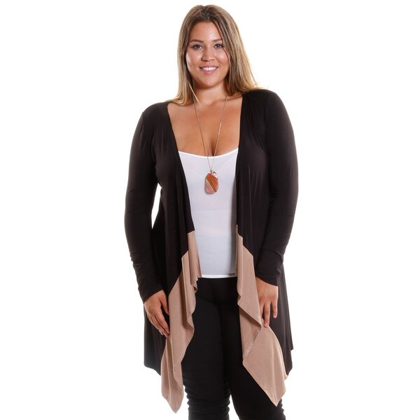 Hadari Women's Plus Size Long Open Front Cardigan