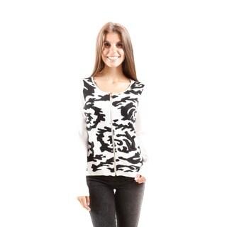 Hadari Women's Contemporary Scoop Neck Zip Sweater
