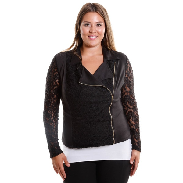 Hadari Women's Plus Size Side Zip Jacket With Lace Sleeve and Lace Back