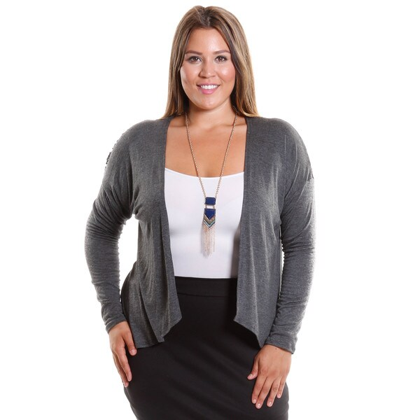 Hadari Women's Plus size Open Front Cardigan With Back Lace Inset