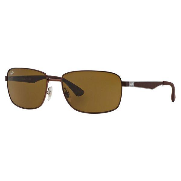 Ray-Ban Men's RB3529 Brown Metal Square Sunglasses