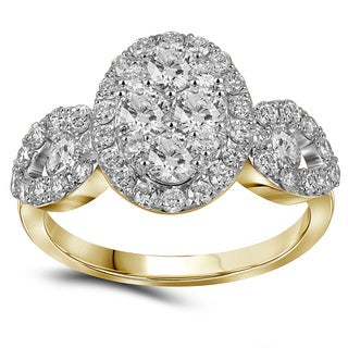 10k Yellow Gold 1 3/4ct TDW Diamond Vintage Pave Oval Engagement Ring (G-H, I1-I2)