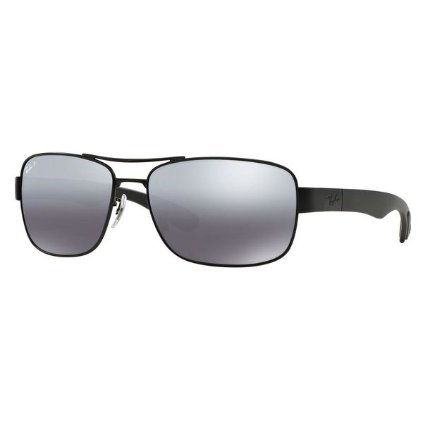 Ray-Ban Men's RB3522 Black Metal Square Polarized Sunglasses