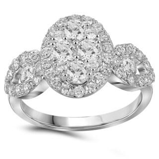 10k White Gold 1 3/4ct TDW Diamond Pave Oval Engagement Ring (G-H, I1-I2)