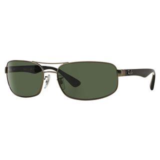 Ray-Ban Men's RB3445 Gunmetal Metal Rectangle Polarized Sunglasses