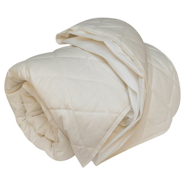 Organic Wool-Filled Fitted Mattress Pad (As Is Item)