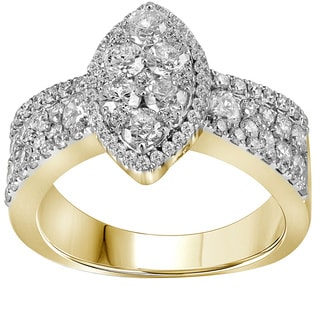 10k Yellow Gold 1 3/4ct TDW Marquise Diamond Pave Engagement Ring (G-H, I1-I2)