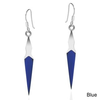 Modern Pointy Drop Stone Inlay .925 Silver Dangle Earrings (Thailand)