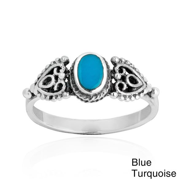 Handmade Love Swirl Filigree Heart Stone .925 Sterling Silver Ring (Thailand) 16096565