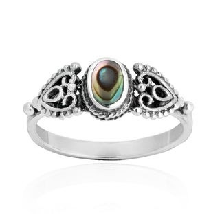Love Swirl Filigree Heart Stone .925 Silver Ring (Thailand)