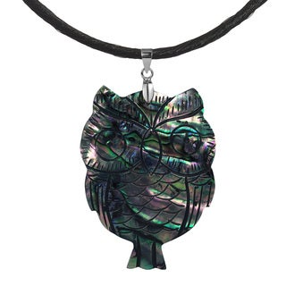 Owl Carved Abalone .925 Silver Silk Necklace (Thailand)