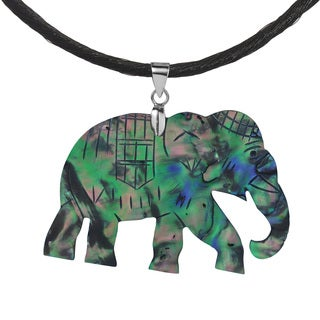 Elephant Hand Carved Abalone Shell .925 Silver Necklace (Thailand)