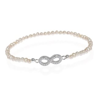 Infinity White Pearl Sterling Silver Stretch Bracelet (Thailand)
