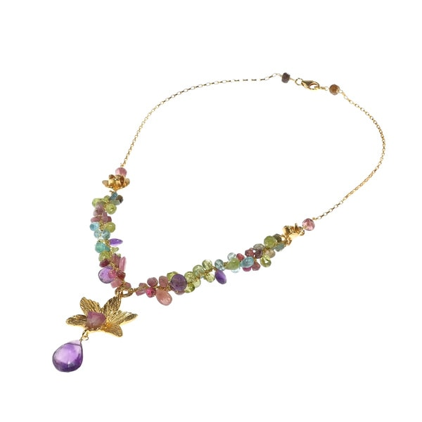 Royal Orchid Mixed Stone Gold over .925 Silver Necklace (Thailand)