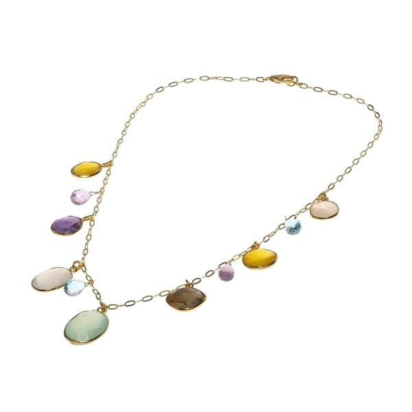 Rainbow Dream Multi Stone Gold Over .925 Silver Necklace (Thailand)