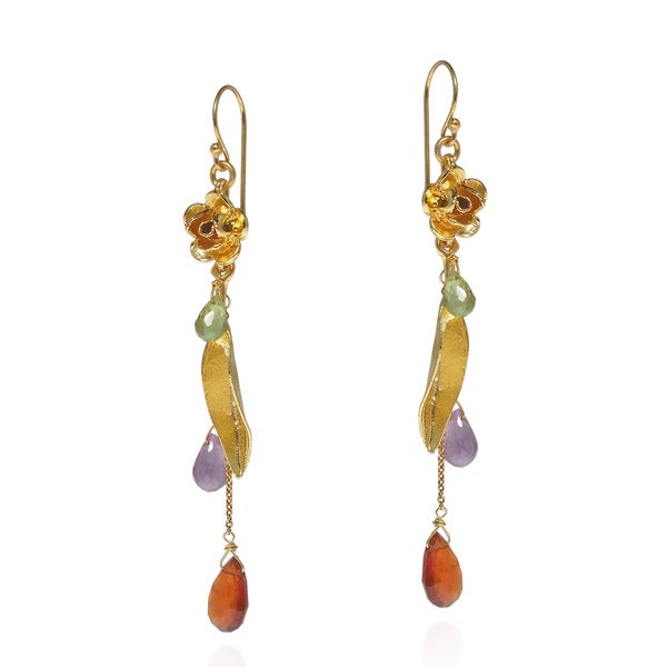 Rose Stem Drop Stones Gold Over Silver Dangle Earrings (Thailand)